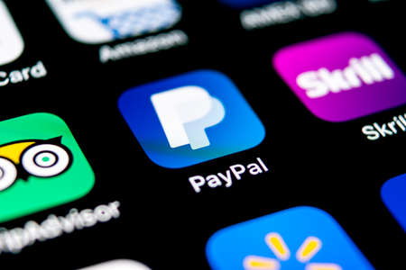 Sankt-Petersburg, Russia, September 30, 2018: PayPal application icon on Apple iPhone X smartphone screen close-up. PayPal app icon. PayPal is an online electronic finance payment system. Editorial