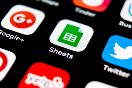 Sankt-Petersburg, Russia, September 30, 2018: Google Sheets icon on Apple iPhone X smartphone screen close-up. Google sheets icon. Social network. Social media icon Editorial