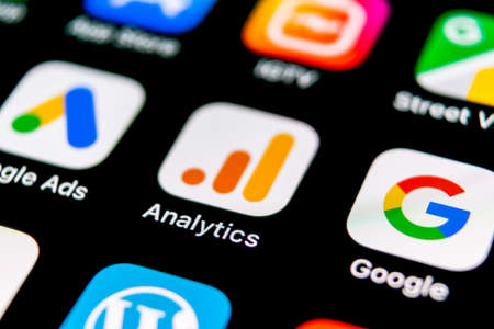 Sankt-Petersburg, Russia, September 30, 2018: Google Analytics application icon on Apple iPhone X screen close-up. Google Analytics icon. Google Analytics application. Social media network