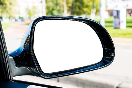 Blank empty screen Rearview car Mirror. Blank rear view mirror with a clipping path. Empty space for text or design. Empty copy space. Car detailing