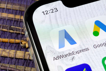 Sankt-Petersburg, Russia, December 5, 2018: Google AdWords express application icon on Apple iPhone X screen close-up. Google Ad Words Express icon. Google Adwords application. Social media network