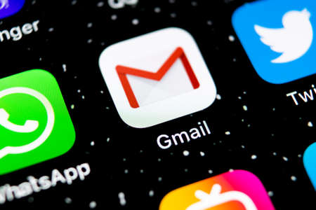 Sankt-Petersburg, Russia, February 3, 2019: Google Gmail application icon on Apple iPhone X smartphone screen close-up. Gmail app icon. Gmail is  popular Internet online e-mail. Social media icon