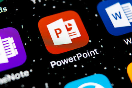 Sankt-Petersburg, Russia, February 3, 2019: Microsoft office Powerpoint application icon on Apple iPhone X screen close-up. PowerPoint app icon. Microsoft Power Point application. Social media network