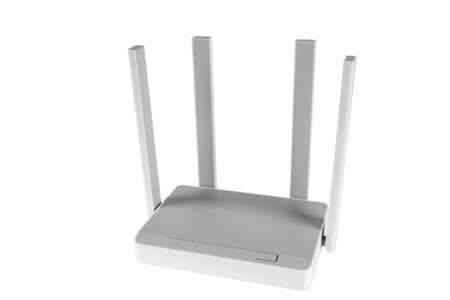 Wireless Wi-Fi router isolated on white background. wifi technology concept. White wireless internet router isolated. Cable modem with antenna isolated on white background. Indicator lights