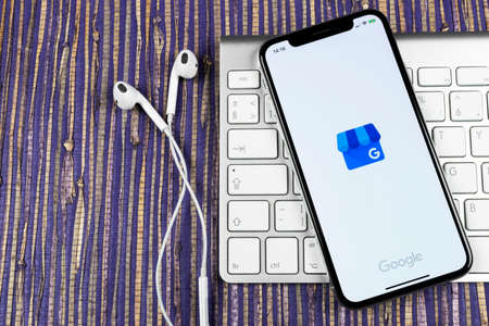 Sankt-Petersburg, Russia, February 10, 2019: Google My Business application icon on Apple iPhone X screen close-up. Google My Business icon. Google My business application. Social media network