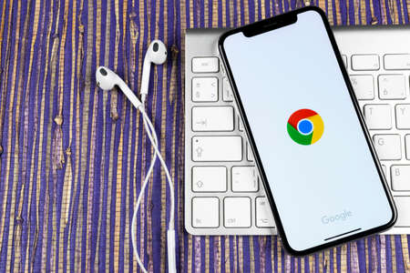 Sankt-Petersburg, Russia, February 10, 2019: Google search application icon on Apple iPhone X smartphone screen close-up. Google app icon. Social network. Social media icon