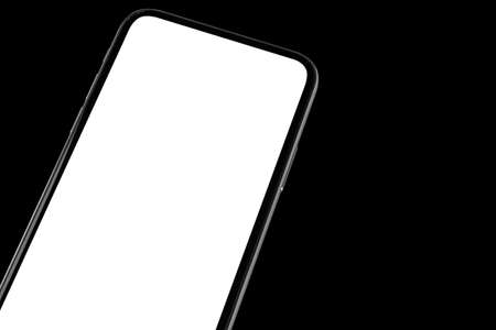 Smartphone with blank screen mock up. Smartphone isolated screen. Mobile phone white screen with copy space isolated on black background. Empty space for text. Isolated white screen Stock Photo