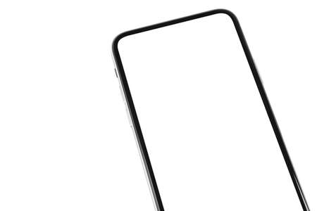Smartphone with blank screen mock up. Smartphone isolated screen. Mobile phone white screen with copy space on white background. Empty space for text. Isolated white screen