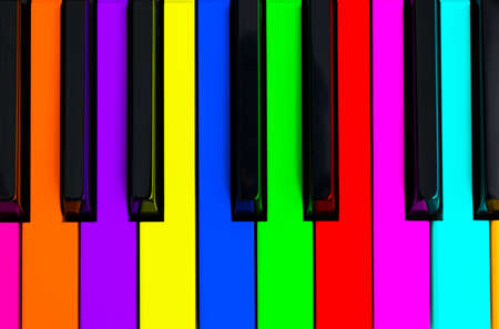 Top view of multicolored piano keys. Close-up of piano keys. Close frontal view. Piano keyboard with selective focus. Top view. Colorful Piano keyboard perspective with red button. Soft ligting Stock Photo