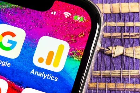 Sankt-Petersburg, Russia, February 17, 2019: Google Analytics application icon on Apple iPhone X screen close-up. Google Analytics icon. Google Analytics application. Social media network