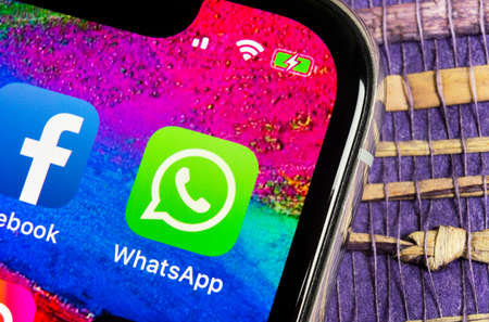 Helsinki, Finland, February 17, 2019: Whatsapp messenger application icon on Apple iPhone X smartphone screen close-up. Whatsapp messenger app icon. Social media icon. Social network Editorial