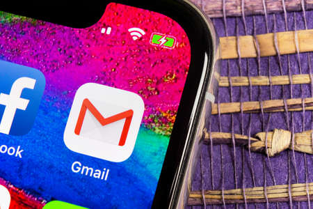 Helsinki, Finland, February 17, 2019: Google Gmail application icon on Apple iPhone X smartphone screen close-up. Gmail app icon. Gmail is popular Internet online e-mail. Social media icon Editorial