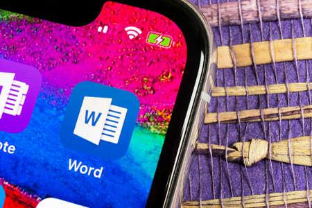 Helsinki, Finland, February 17, 2019: Microsoft Word application icon on Apple iPhone X screen close-up. Microsoft office word icon. Microsoft office on mobile phone. Social media