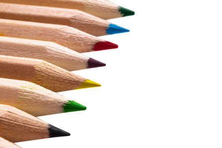 Set of color pencils isolated on white background. Multicolored pencils isolated.