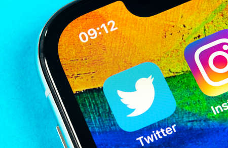 Helsinki, Finland, May 4, 2019: Twitter application icon on Apple iPhone X smartphone screen close-up. Twitter app icon. Social media icon. Social network