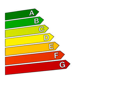 Energy efficiency concept with energy rating chart isolated on white background. House efficiency rating. Concept of ecological and bio energetic house