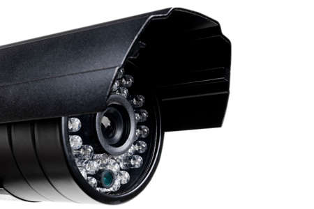 CCTV security camera video equipment. Surveillance monitoring. Video camera lens closeup. Macro shot. Security concept. Security camera isolated on white background 写真素材 - 124850407