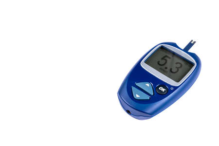 Blood sugar test isolated on white background. Copy space. Glucose meter with blood sugar level on display. Close-up. Medicine, diabetes, glycemia, health care concept.