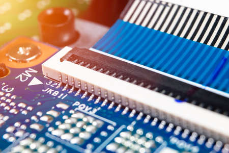 Macro shot of Circuit board with resistors microchips and electronic components. Computer hardware technology. Integrated communication processor. Information engineering. Semiconductor. PCB. Closeup 写真素材 - 124851686