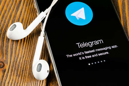 Helsinki, Finland, May 4, 2019: Telegram X application icon on Apple iPhone X screen close-up. Telegram X app icon. Telegram X is an online social media network. Social media app