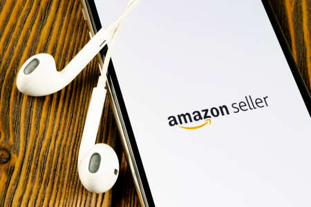 Helsinki, Finland, May 4, 2019: Amazon Seller application icon on Apple iPhone X screen close-up. AmazonSeller app icon. Amazon Seller application. Social media icon