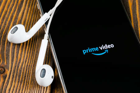 Helsinki, Finland, May 4, 2019: Amazon Prime Video application icon on Apple iPhone X screen close-up. Amazon PrimeVideo app icon. Amazon Prime application. Social media network
