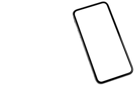 Smartphone with blank screen mock up. Smartphone isolated screen. Mobile phone white screen with copy space isolated on white background. Empty space for text. Isolated white screen 写真素材 - 124849981
