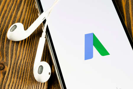 Helsinki, Finland, May 4, 2019: Google Ads AdWords application icon on Apple iPhone X screen close-up. Google Ad Words icon. Google ads Adwords application. Social media network 報道画像