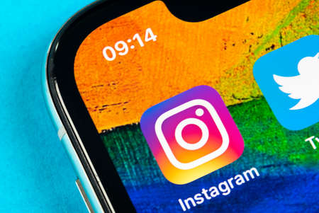 Helsinki, Finland, May 4, 2019: Instagram application icon on Apple iPhone X smartphone screen close-up. Instagram app icon. Social media icon. Social network
