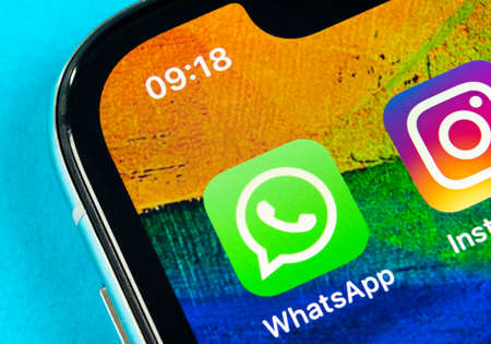 Helsinki, Finland, May 4, 2019: Whatsapp messenger application icon on Apple iPhone X smartphone screen close-up. Whatsapp messenger app icon. Social media icon. Social network