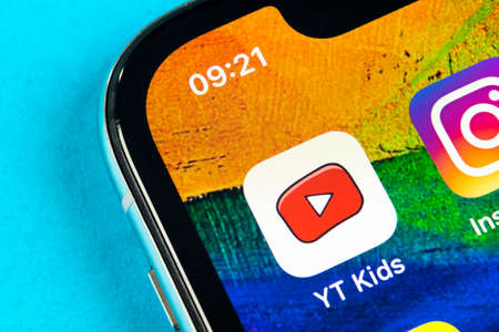 Helsinki, Finland, May 4, 2019, 2018: YouTube kids application icon on Apple iPhone X smartphone screen close-up. Youtube kids app icon. Social media icon. Social network
