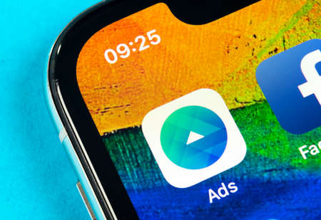 Helsinki, Finland, May 4, 2019: Facebook Ads application icon on Apple iPhone X screen close-up. Facebook Business app icon. Facebook Ads mobile application. Social media network 報道画像