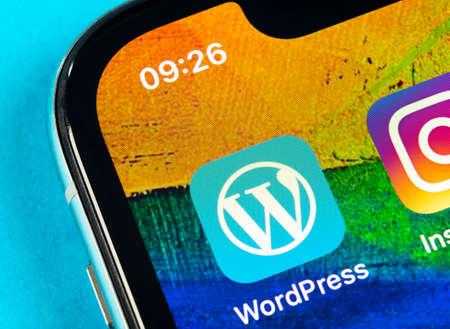 Helsinki, Finland, May 4, 2019: Wordpress application icon on Apple iPhone X screen close-up. Wordpress app icon. Wordpress.com application. Social network