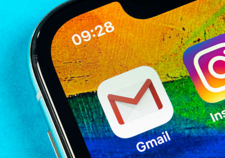 Helsinki, Finland, May 4, 2019: Google Gmail application icon on Apple iPhone X smartphone screen close-up. Gmail app icon. Gmail is popular Internet online e-mail. Social media icon Editorial