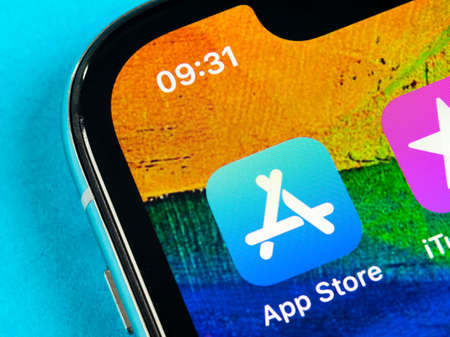 Helsinki, Finland, May 4, 2019: Apple store application icon on Apple iPhone X smartphone screen close-up. Mobile application icon of app store. Social network. AppStore