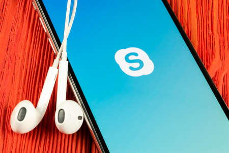Helsinki, Finland, May 4, 2019: Skype application icon on Apple iPhone X smartphone screen close-up. Skype messenger app icon. Social media icon. Social network. Skype app icon.