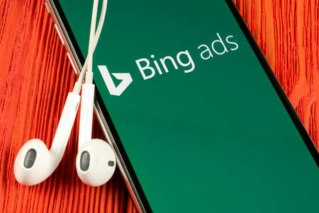 Helsinki, Finland, May 4, 2019: Bing application icon on Apple iPhone X screen close-up. Bing ads app icon. Bing ads is online advertising application. Social media network. 報道画像