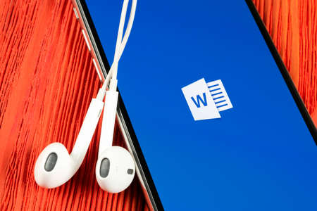 Helsinki, Finland, May 4, 2019: Microsoft Word application icon on Apple iPhone X screen close-up. Microsoft office word icon. Microsoft office on mobile phone. Social media