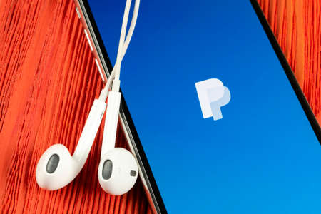 Helsinki, Finland, May 4, 2019: PayPal application icon on Apple iPhone X smartphone screen close-up. PayPal app icon. PayPal is an online electronic finance payment system.