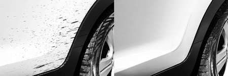Washing car bitumen stain. Car wash service before and after washing. Cleaning maintenance. Half divided picture. Before and after effect. Washing vehicle at the station. Car washing concept. Imagens