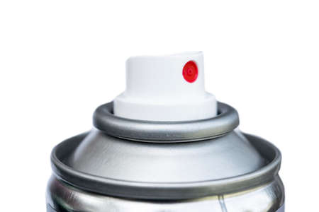 Aluminum spray can. Aerosol bottle. Paint tin with cap. Compressed foam chrome Packaging. Deodorant or hairspray cosmetic cylinder tube isolated on white background