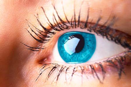 Beautiful human eye close-up. Young woman blue one eye macro shoot. Macro shot closeup eye looking up. Human eye macro detail. Eye health and care