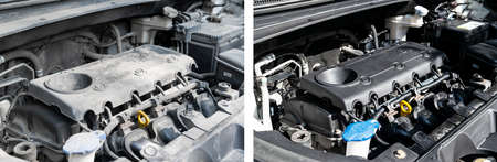 Washing car engine. Car wash service before and after washing. Before and after cleaning maintenance. Half divided picture. Before and after effect. Washing vehicle engine at the station. Car washing concept.