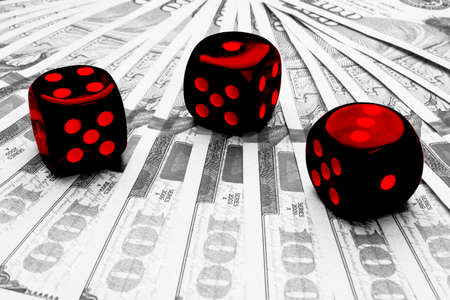 Poker dice rolls on a dollar bills, Money. Poker table at the casino. Poker game concept. Playing a game with dice. Casino dice rolls. Concept for business risk. chance good luck.