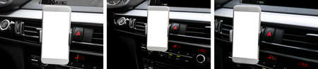 Smartphone in a car use for Navigate or GPS. Driving a car with Smartphone in holder. Mobile phone with isolatede white screen. Blank empty screen. copy space. Empty space for text. car interior Imagens