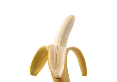Half peeled banana isolated on white background. Ripe open banana Isolated.