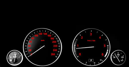Car interior dashboard details with indication lamps. Car detailing. Car instrument panel. Dashboard closeup with visible speedometer and fuel level. Odometer, tachometer. Diesel engine. Car detailing