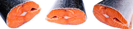 Set of Fresh salmon steak isolated on the white background. Salmon Red Fish Steak. Large Pile of trout steak. Big organic steaks of salmon lined up. Big pieces raw salmon.