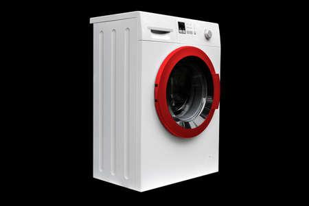 Washing machine isolated on black background. Washing machine isolated over black.