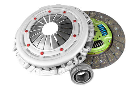 Car repair kit clutch manual gearbox isolated on a white background. Car and truck clutch disk. Composite clutch disc. Clutch repair kit. Car maintenance spare parts Banque d'images